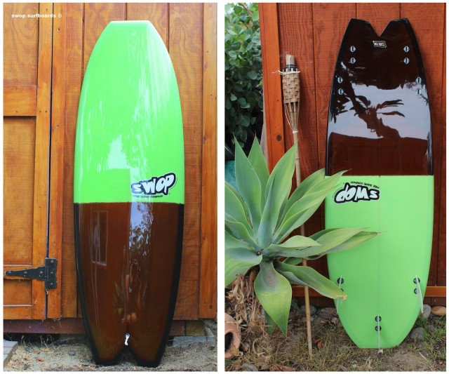 34 swop surfboards prototype double tail two way sex change switchie bing encinitas california resin tint clark foam stealth tail blunt nose